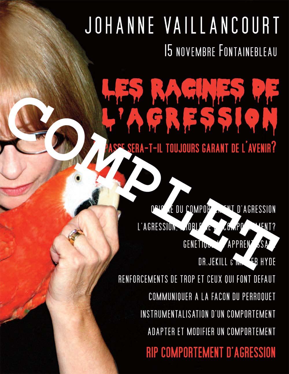 Affiche de la journée d'étude sur les perroquets avec Johanne Vaillancourt marquée Complet