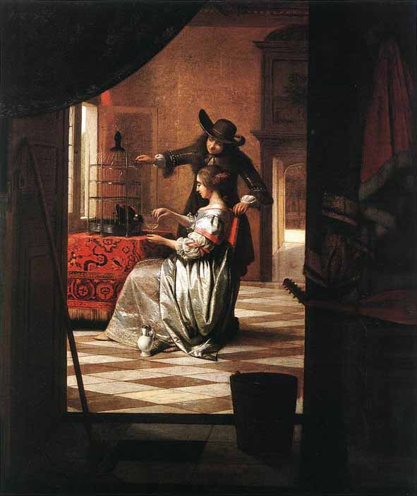 Hooch, Le couple au perroquet