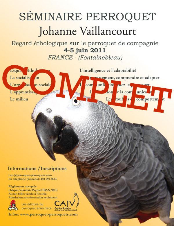 Affiche du Séminaire de Fontainebleau sur les perroquets en 2011 avec Johanne Vaillancourt.